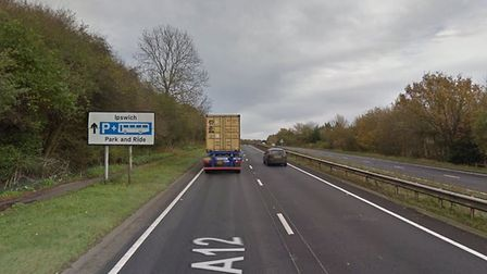 The collision has left one lane blocked between East Bergholt and Capel St Mary Picture: GOOGLE MAPS