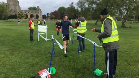 Runners approach the finish-funnel during last weekend's inaugural Snowden Field parkrun. There were