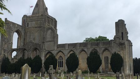 The derelict Crowland Abbey, which stands large over the course of the new Snowden Field parkrun, in