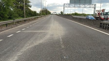 The gravel was spilled on the A12 between Boreham and Witham Picture: HIGHWAYS ENGLAND