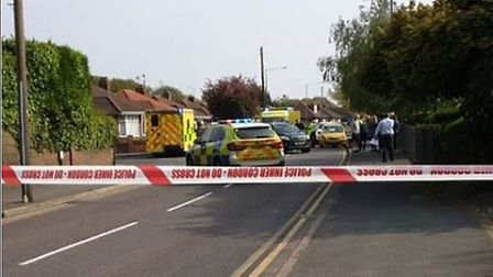 The scene on Turner Road near Colchester Hospital where a teen was in collision with a car Picture: