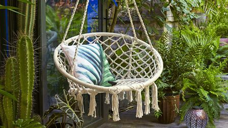 Set Up A Space Just For You Macrame Hanging Chair, �69.99; Tropical Cushion, �12.99, Dobbies. Pictu