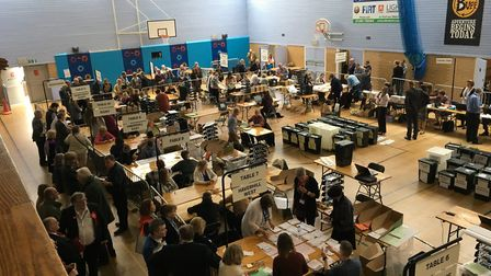 The count underway at Bury St Edmunds Leisure Centre Picture: MARIAM GHAEMI