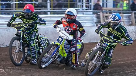 From the left, Danny King, Kenneth Bjerre and Jake Allen head for the first bend in heat four. Pi
