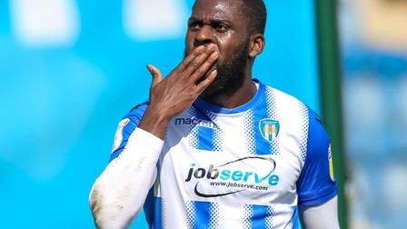 Frank Nouble celebrates his first-half goal in the U's 1-0 win over Grimsby last weekend. Nouble sh