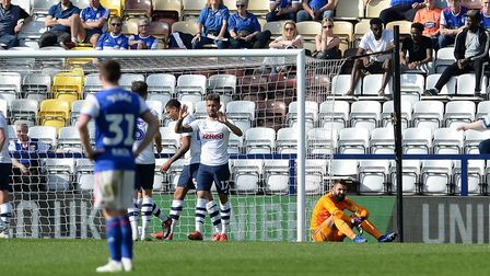 Bartosz Bialkowski is left sat by his goal after Ipswich concede their fourth goal at Preston. Pictu