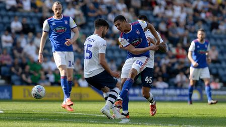 Myles Kenlock tries to create something in the Preston penalty area. Picture Pagepix