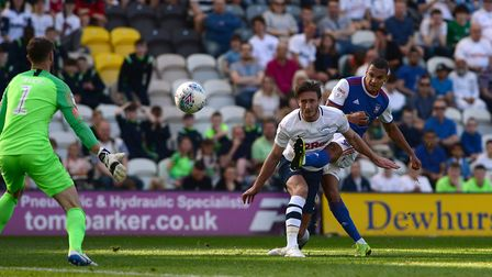 Kayden Jackson hits the crossbar with this second half chance at Preston. Picture Pagepix