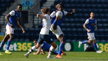 Trevoh Chalobah gets his foot up at Preston. Picture Pagepix