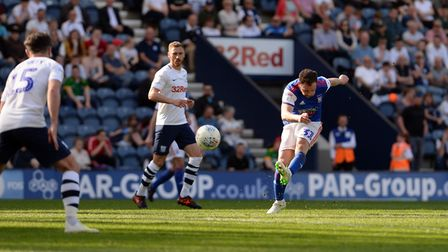 Alan Judge with a late off-target effort at Preston. Picture Pagepix