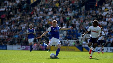Flynn Downes goes close with a first half shot at Preston Picture Pagepix