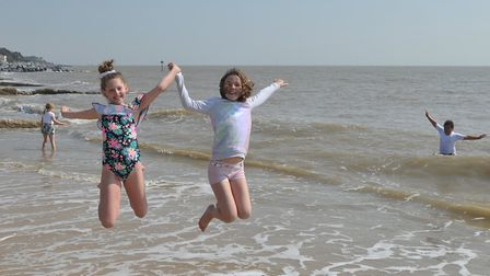 Children enjyoing the hot weather in Felixstowe - but if you are out in the sun remember to take car