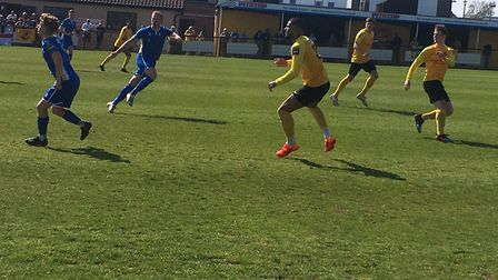 Action from Saturday afternoon's Bostik North clash at a sun-drenched Recreation Way, between hosts