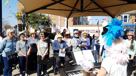 A choir sang for the crowd at Everything Easter in Felixstowe. Picture: RACHEL EDGE