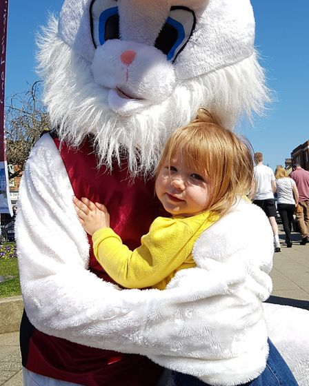 The Easter Bunny met children at Everything Easter in Felixstowe. Picture: RACHEL EDGE