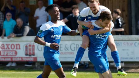 Bury Town's Ollie Fenn celebrates his goal with with Ryan Horne and Emmanuel Machaya. Picture: PAUL
