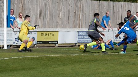 Emmanuel Machaya fires in his second and Bury's fourth goal in their win over Grays. Picture: PAUL V
