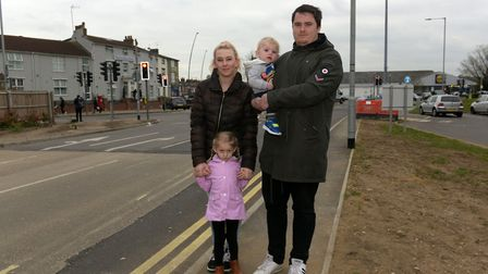 Kylie Goodyear with her daughter Emmie, son Leo and partner Lawrence Gilbert outside the Kingsley Ho