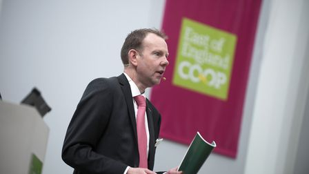 East of England Co-op joint chief executive Doug Field speaking at last year's Annual Members' Meeti