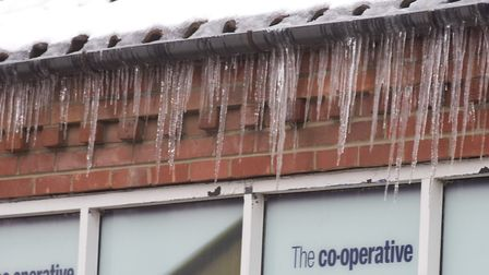 Icicles dangle from buildings in Loddon. The Beast from the East helped boost profits for the compan