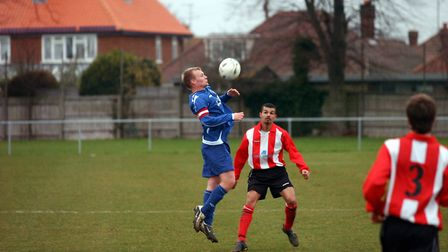 Manning, pictured in action for Leiston against Felixstore. Picture Owen Hines