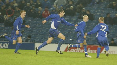Celebrations at Ellan Road: Ipswich Youth players (from left) Liam Craig, Aidan Collins (scorer of f