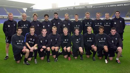 Ipswich Town Youth FA Cup squad training at Portman Road. BACK ROW FROM LEFT, Victor Hill, Scott