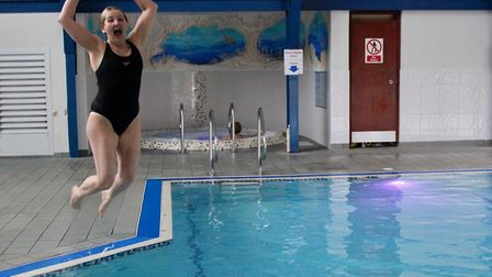 Kirstie Boxall swam the length of the English Channel at Ufford Park near Woodbridge following her s