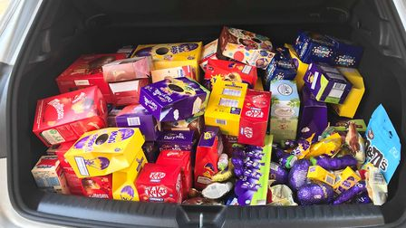 The Easter eggs fill the whole of the boot Picture: KIRSTY ALLAN