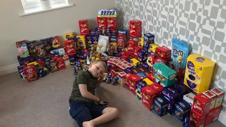 Proud Spencer with the Easter goodies he is going to donate Picture: KIRSTY ALLAN