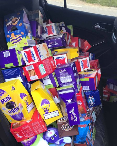 The eggs filled the boot and the back seats of the car Picture: KIRSTY ALLAN