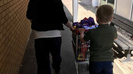Spencer wheeling the eggs into West Suffolk hospital Picture: KIRSTY ALLAN