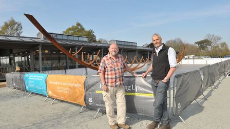 Mike Hopwood and Nick Collinson with the new sculpture Picture: SARAH LUCY BROWN