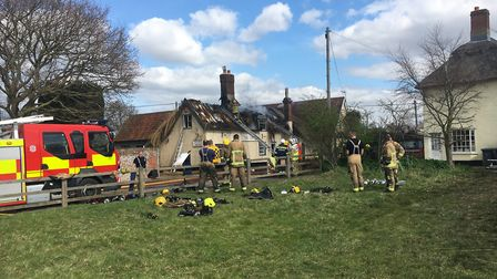 Firefighters at the Ship Inn pub fire Picture: ADNAMS