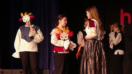 The masque scene during Romeo and Juliet at Orwell High's Shakespeare Shorts evening on 2004. Pict