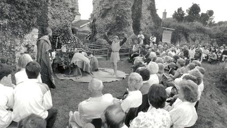 William Shakespeare's The Tempest being performed in the open at Bungay Castle on July 22, 1992 by t