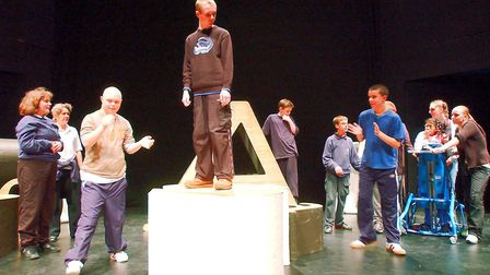 Belstead School pupils in a scene from Macbeth, part of the Shakespeare School Festival at the Ne