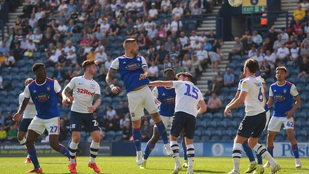 Luke Chambers with a first half chance at Preston. Picture Pagepix