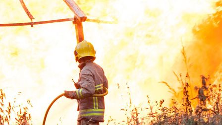 Seven crews tackled a blaze at Great Bromley Picture: JOHN HUGHES