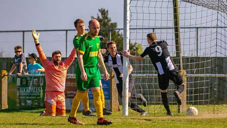Jake Rudge taps in for Woodbridge Town after good work from Aaron Churchyard aginst Newmarket. Pictu