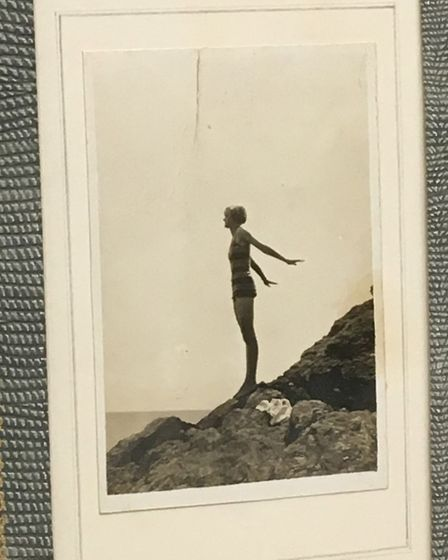 The poems were found inside the frame of a picture of Du Maurier in a swimsuit Picture: ROWLEYS