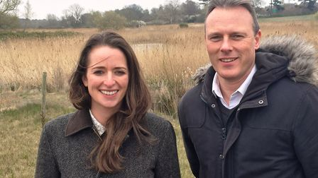 Katy McGuinness, environmental lead for Sizewell C, and Dr Stephen Roast, marine planning manager fo