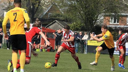 Seasiders' Liam Hillyard attacks the Mildenhall defence at Dellwood Avenue. Photo :STAN BASTON