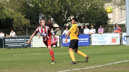 Seasiders' Josh Lee goes sees his goal bound header go the wrong side of the post. Photo: STAN BASTO