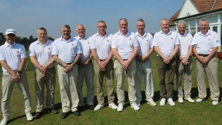 SUFFOLK SENIORS who played against Hertfordshire at Aldeburgh: From left: John Booth, Graham Shillin