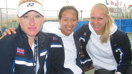 Elena Baltacha, Anne Keothavong and Jocelyn Rae in the Great Britain Fed Cup Team. Picture: NINO SEV