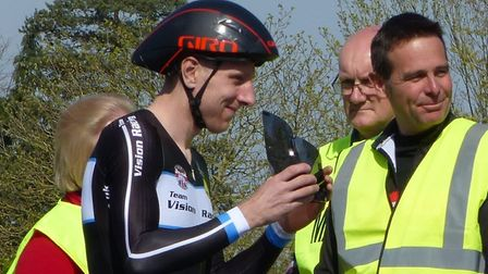 """Men's winner Jason Bouttell (with visor"""") and Tour of the Broads promoter Neil Turner, who was pushi"""