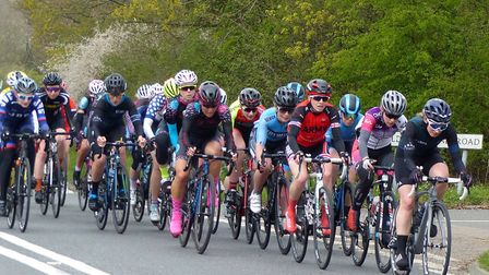 The bunch at Little Claydons in the Essex Roads Women's Road Race. Picture: FERGUS MUIR