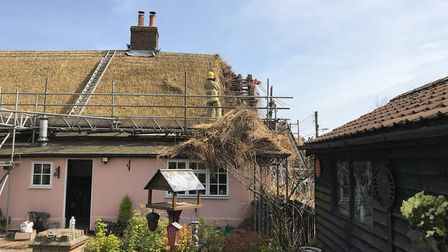 Thatch fire in Moats Tye Picture: SUFFOLK FIRE AND RESCUE SERVICE