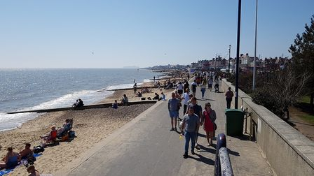 Felixstowe beach was packed with families enjoying the sun. Picture: RACHEL EDGE